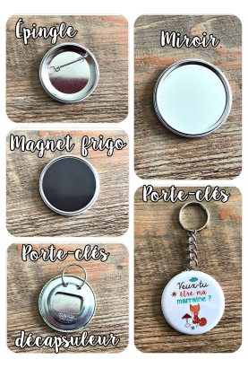 Badges magnet, porte-clés, miroir, décapsuleur, épingle