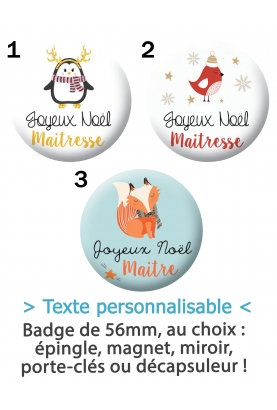 Badges à personnaliser maitresse, maitre, nounou, ASTEM