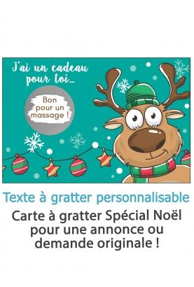 """Carte à gratter """"Noël"""" pour annonce ou demande originale - cerf"""