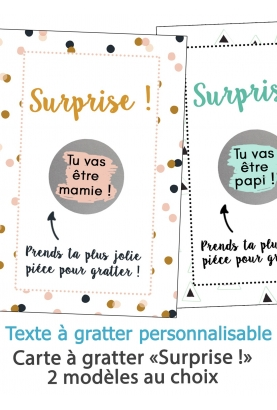 """Carte à gratter """"Surprise !"""" pour annonce ou demande originale"""