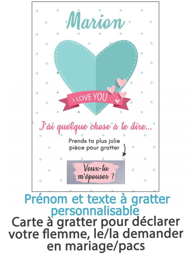 Carte gratter i love you pour annonce ou demande originale - Demande en mariage originale par une femme ...