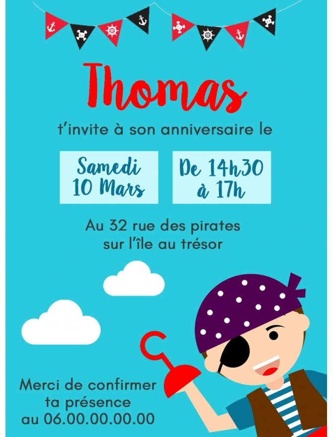 carte d 39 invitation anniversaire gratter pirate. Black Bedroom Furniture Sets. Home Design Ideas