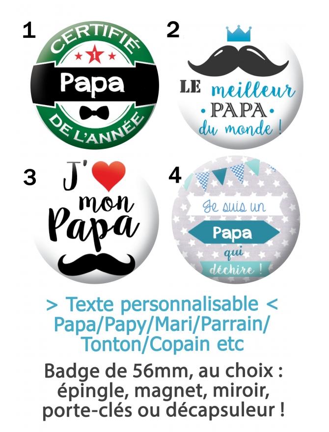 Badge à personnaliser papa, tonton, mari, copain, parrain, papy
