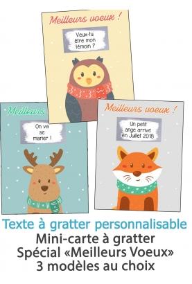 """Mini-carte à gratter """"Meilleurs voeux"""" pour annonce ou demande originale"""