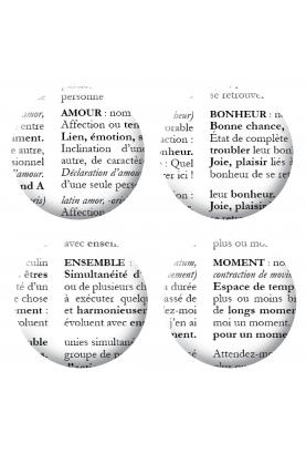 Lot 4 badges Définitions de mots scrapbooking