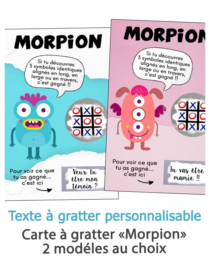 """Carte à gratter """"Morpion"""" pour annonce ou demande originale"""