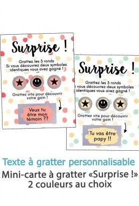 """Mini carte à gratter """"Surprise !"""" pour annonce ou demande originale"""