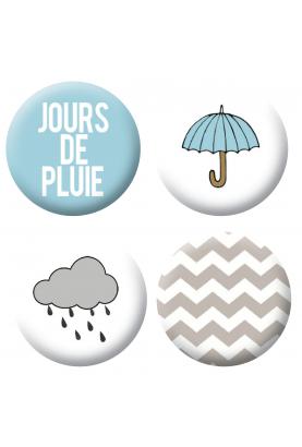Badges jour de pluie scrapbooking