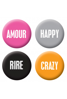 Badges mots colorés scrapbooking