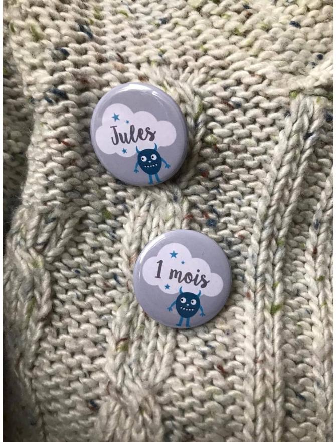 """Kit """"Ma première année"""" 13 badges épingles - modèle au choix"""