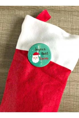 Chaussette de Noël avec son badge personnalisé
