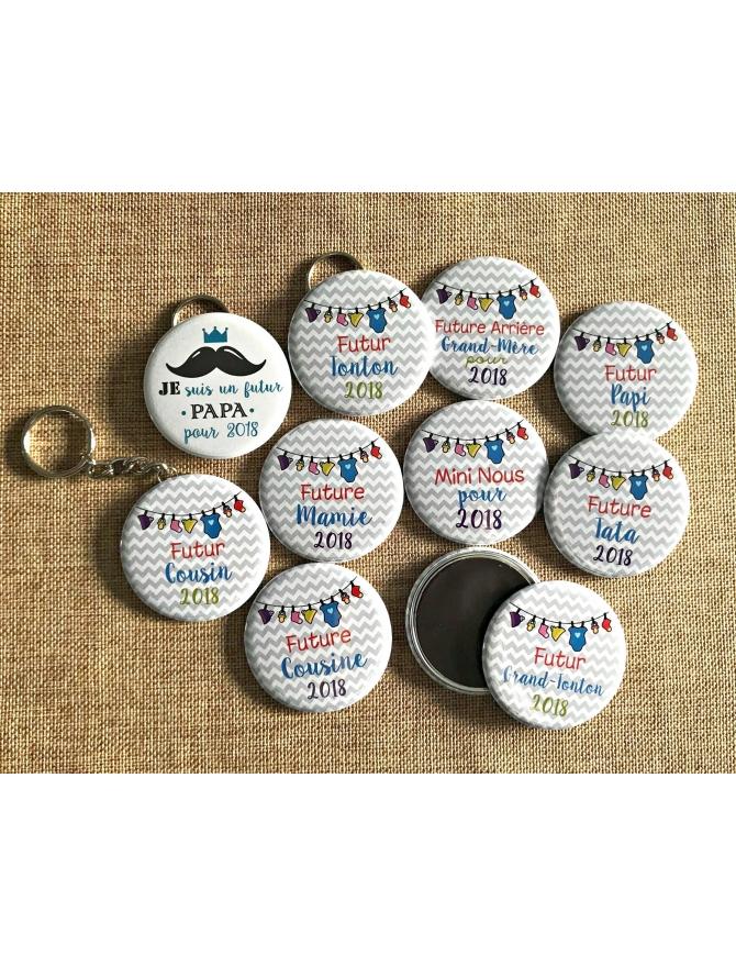 Badges à personnaliser future mamie, magnet, porte-clés, miroir, décapsuleur, épingle