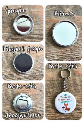 Badges à personnaliser EVJF, magnet, porte-clés, miroir, décapsuleur, épingle