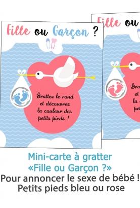 """carte à gratter annonce du sexe """"Fille ou Garçon ?"""""""