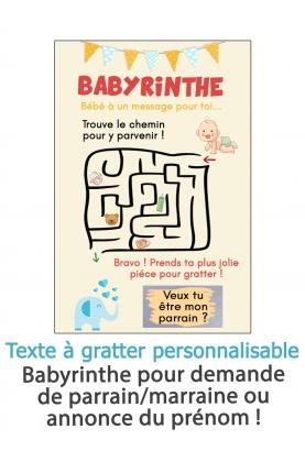 Carte à gratter demande parrain ou marraine Babyrinthe