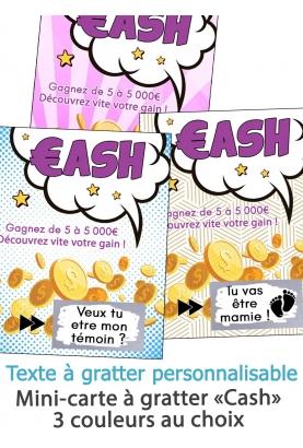 """Mini-carte à gratter """"Cash"""" pour annonce originale"""