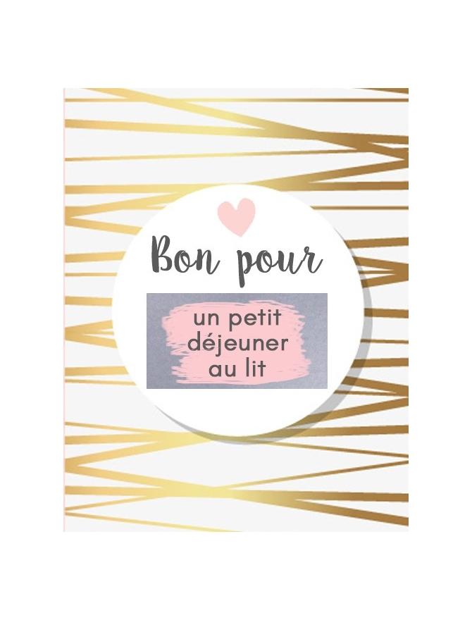 """Carte à gratter saint valentin """"bon pour un petit déjeuner au lit"""""""