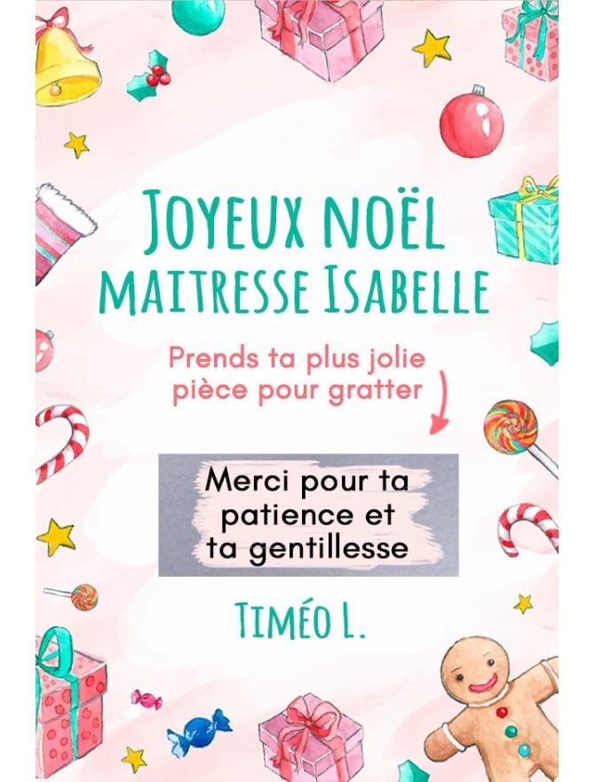 """Carte à gratter """"Joyeux Noël"""" pour maîtresse, maître, ATSEM, nounou etc"""
