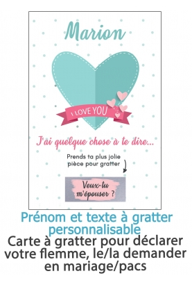 """Carte à gratter """"I love you"""" pour annonce ou demande originale"""