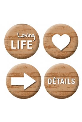 Badges motif bois  loisirs créatifs