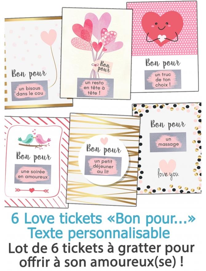 """Love tickets à gratter """"Bon pour"""" pour son amoureux(se)"""
