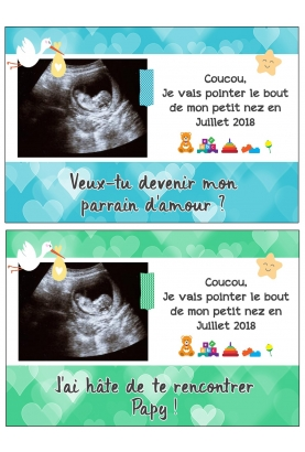 Carte annonce de grossesse avec votre échographie personnalisable