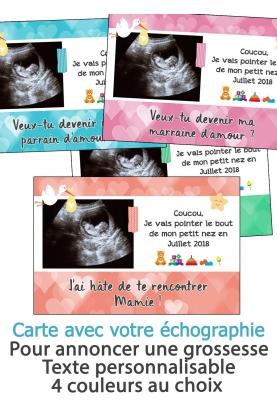 Carte annonce de grossesse avec votre échographie
