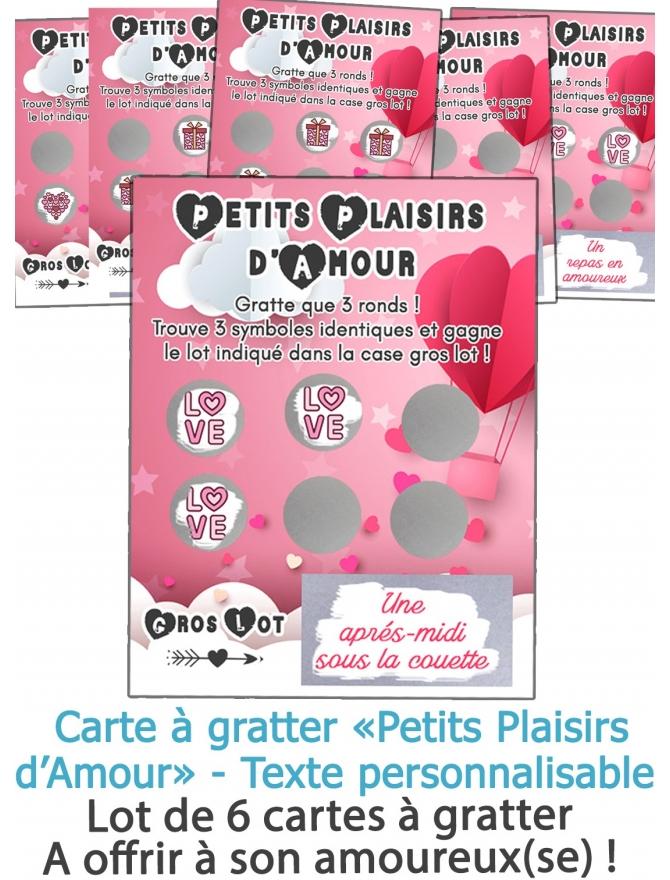 """Lot de 6 carter à gratter """"Petits plaisirs d'amour"""" pour votre amoureux(se)"""