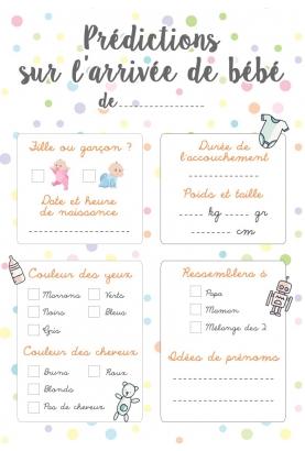 Carte de jeu - Prédictions sur l'arrivée de bébé - Baby Shower