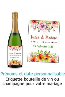 Etiquette bouteille de vin ou champagne pour votre mariage - fleur