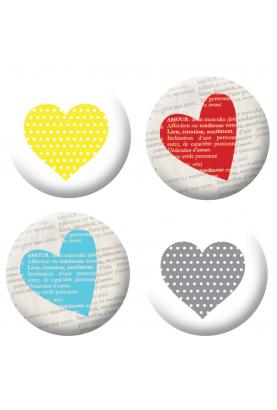 Badges coeurs colorés scrapbooking