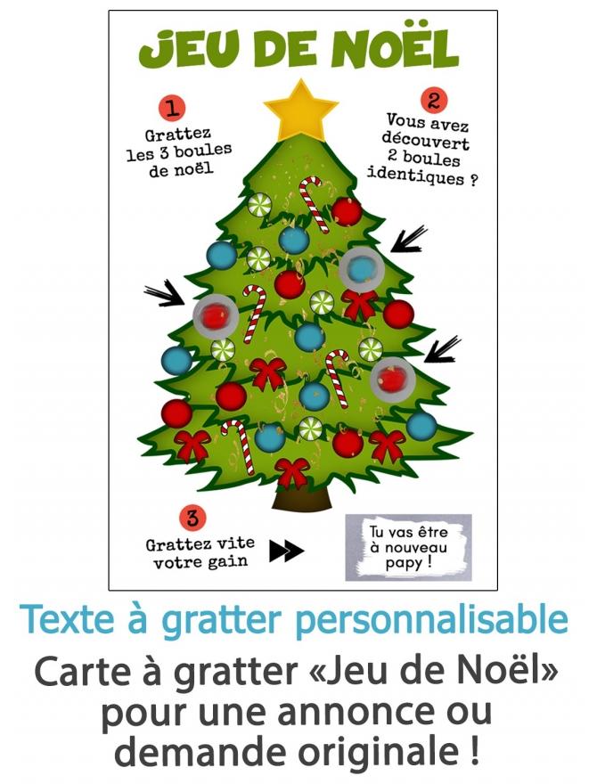 """Carte à gratter """"Jeu de Noël"""" pour annonce ou demande originale"""