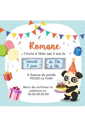 Carte d'invitation anniversaire à gratter - panda