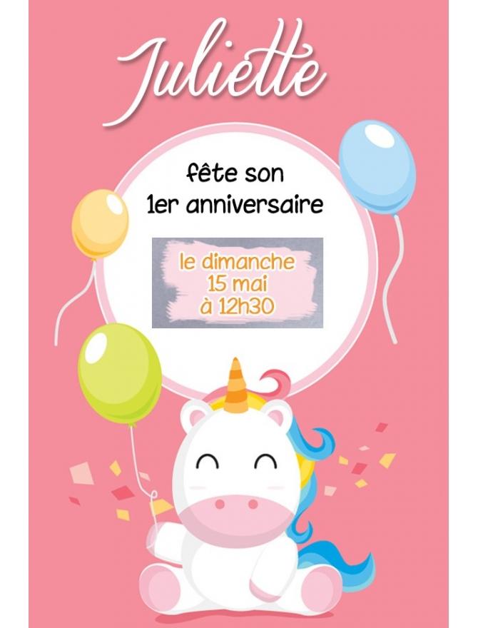 Petite carte d'invitation à gratter - 1 an de bébé