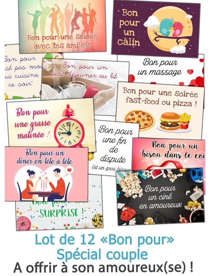 """Lot de 12 """"Bon pour"""" spécial couple, pour votre amoureux(se)"""