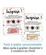 """Mini carte à gratter """"Surprise !"""" pour annonce ou demande originale. carte gratter. annonce originale"""