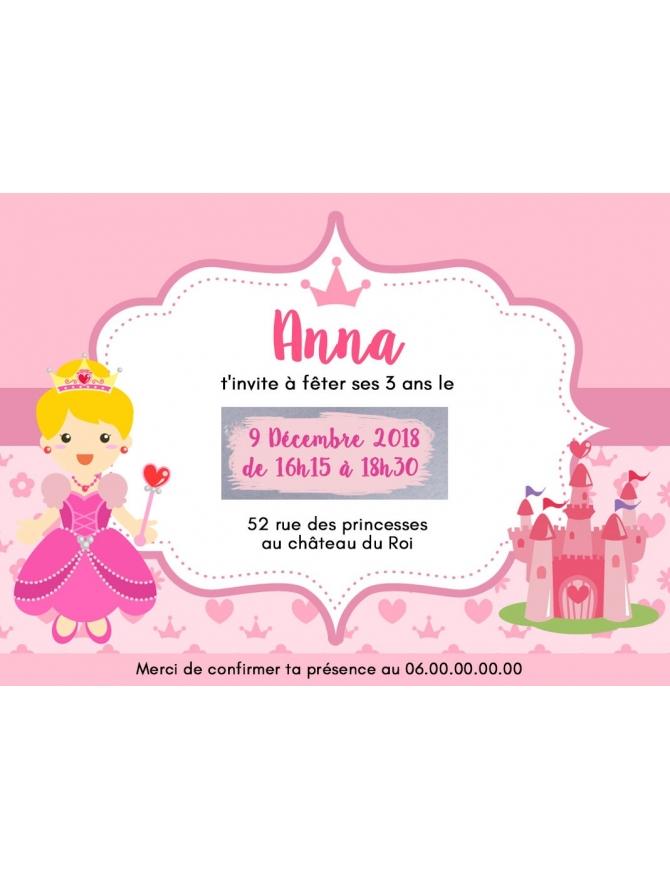 Carte d'invitation anniversaire à gratter personnalisable fille rose