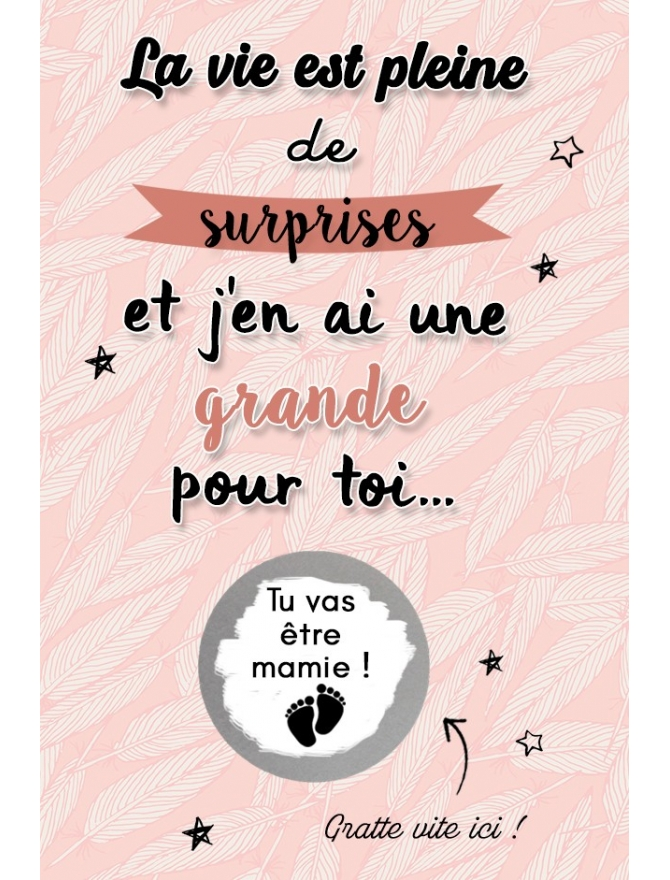 """Carte à gratter """"La vie est pleine de surprises"""" pour annonce ou demande originale"""