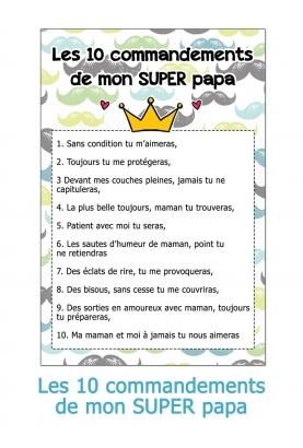 Les 10 commandements de mon SUPER papa
