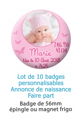 Badges naissance rose avec  photo ronde - 10 badges 56mm épingle ou magnet frigo