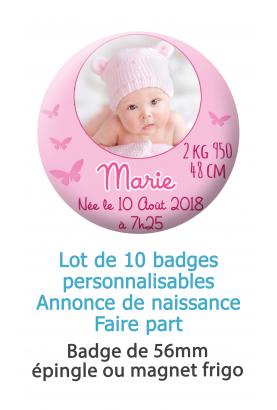 Badges naissance rose avec  photo ronde - 10 badges 56mm épingle ou magnet frigo