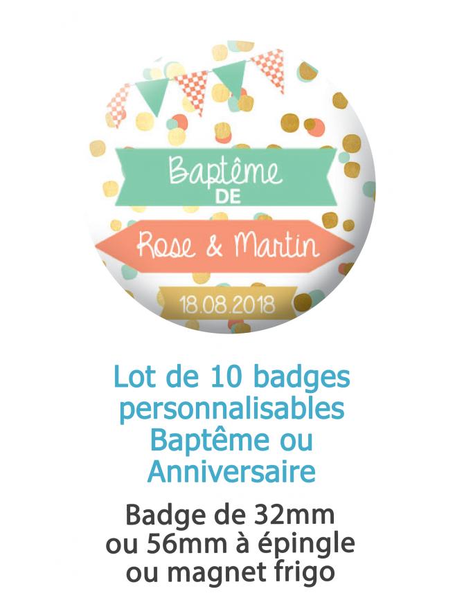 Badges baptême ou anniversaire - 10 badges à épingles