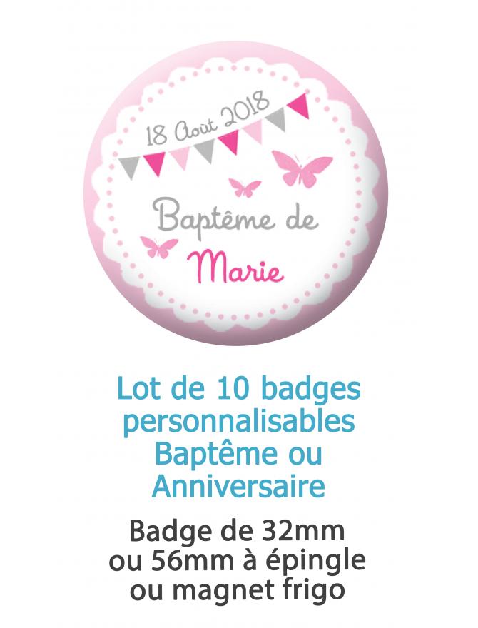 Badges baptême fille personnalisable