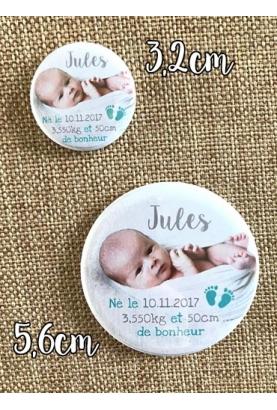 Badges baptême garçon - 10 badges à épingles