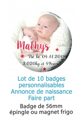 Badges naissance mixte étoile - 10 badges 56mm épingle ou magnet frigo