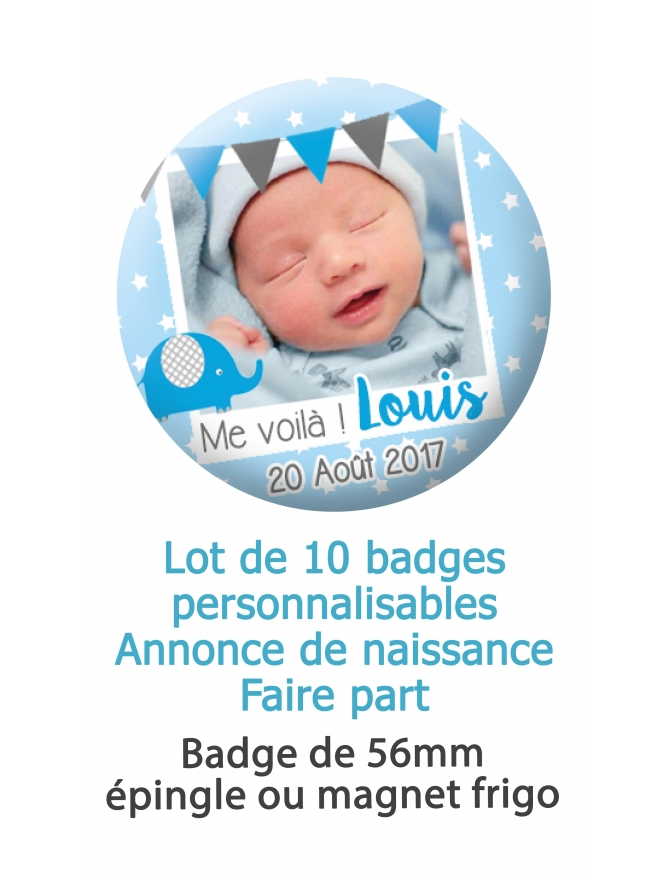 Badges naissance style polaroid bleu - 10 badges 56mm épingle ou magnet frigo