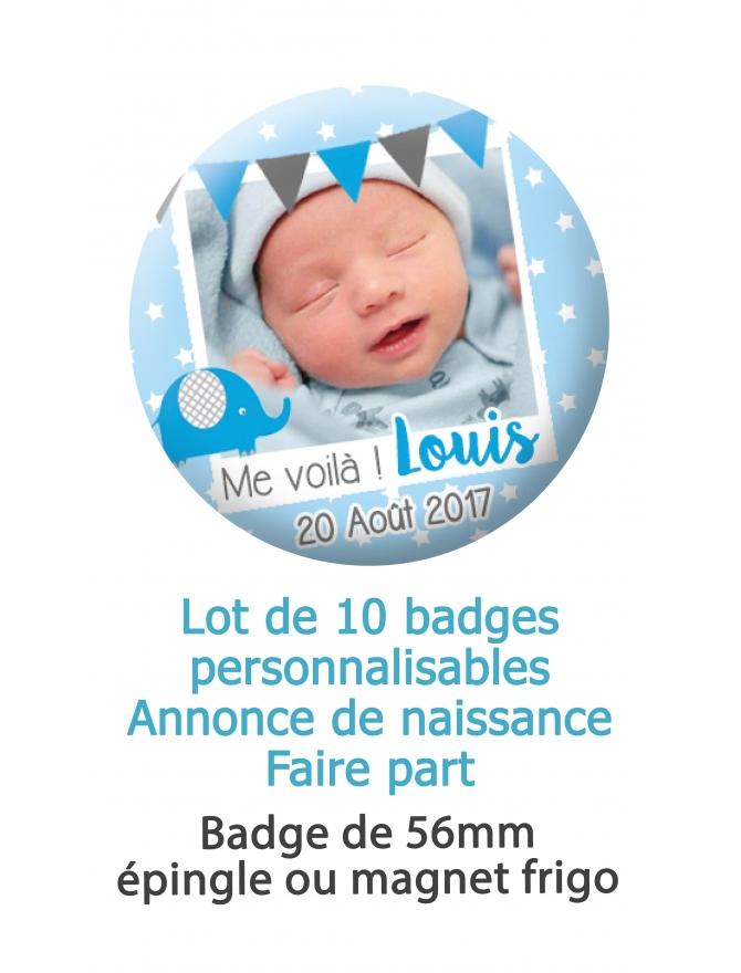 Badges naissance style polaroid bleu - 10 badges 56mm épingle ou magnet frigo