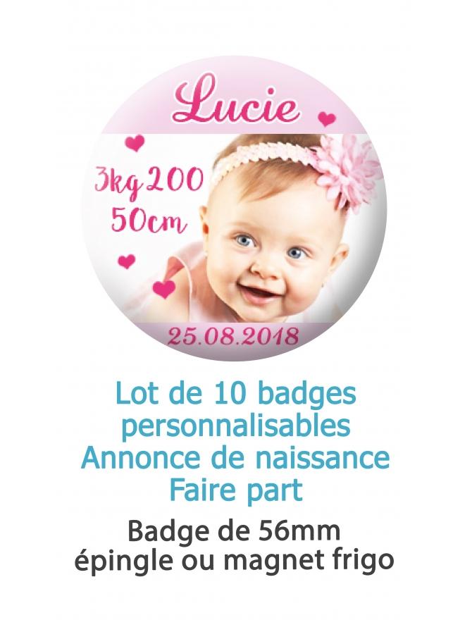 Badges naissance fille cœur rose - 10 badges 56mm épingle ou magnet frigo