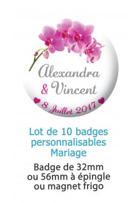 Badges mariage orchidée - 10 badges à épingles