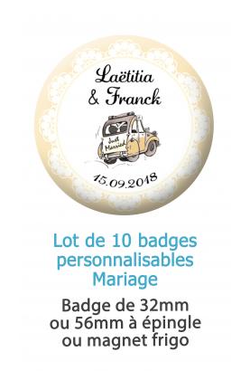 Badges personnalisés mariage voiture champêtre - 10 badges à épingles